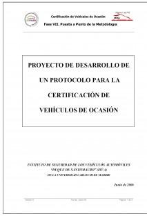 Proyecto de desarrollo de un protocolo para la certificación de vehículos de ocasión
