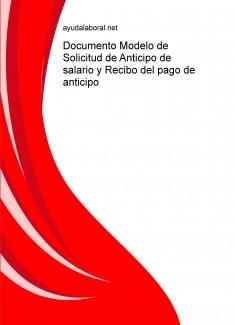 Documento Modelo de Solicitud de Anticipo de salario y Recibo del pago de anticipo