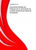 Documento Modelo de Preaviso de no renovación de contrato temporal por parte de la empresa