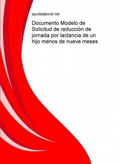 Documento Modelo de Solicitud de reducción de jornada por lactancia de un hijo menos de nueve meses