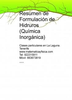 Resumen de Formulación de Hidruros (Química Inorgánica)