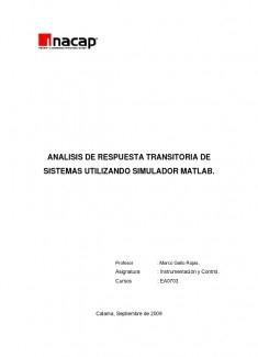 ANALISIS DE RESPUESTA TRANSITORIA DE SISTEMAS UTILIZANDO SIMULADOR MATLAB.