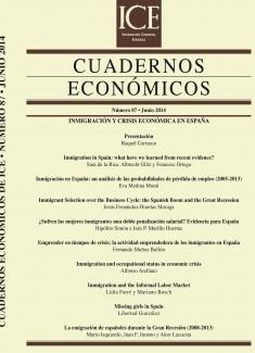 Cuadernos Económicos. Información Comercial Española (ICE). Núm. 87                       Inmigración y c risis económica en España