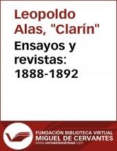 Ensayos y revistas: 1888-1892