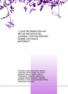 """¿QUÉ INFORMACIÓN HAY EN LAS REVISTAS DEL JOURNAL CITATION REPORT SOBRE LACTANCIA MATERNA?"""