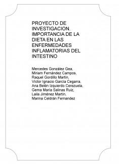 PROYECTO DE INVESTIGACION. IMPORTANCIA DE LA DIETA EN LAS ENFERMEDADES INFLAMATORIAS DEL INTESTINO