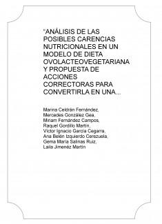 """""""ANÁLISIS DE LAS POSIBLES CARENCIAS NUTRICIONALES EN UN MODELO DE DIETA OVOLACTEOVEGETARIANA Y PROPUESTA DE ACCIONES CORRECTORAS PARA CONVERTIRLA EN UNA DIETA EQUILIBRADA"""""""