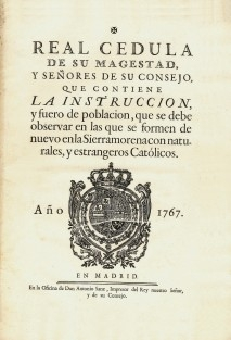 Fuero de las Nuevas Poblaciones de Sierra Morena y Andalucía (1767)