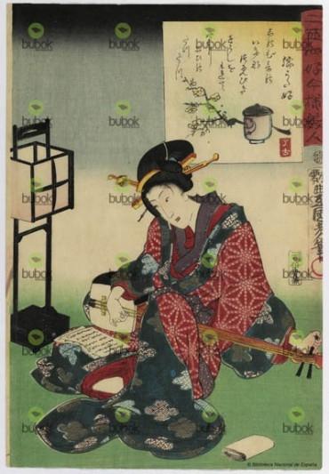 Afición a la música. Mujer tocando el shamisen : Nijushiko imayo bijin…