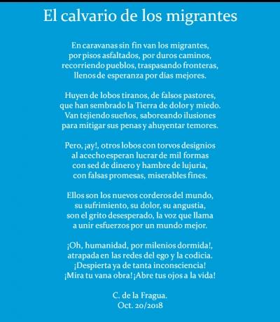 Quiero compartir con la Comunidad Bubok este poema a los migrantes y otros que he publicado en mi blog lahoradelahumanidad. https://lahoradelahumanidad.com/publicaciones/